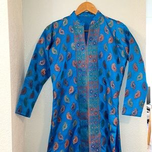 Traditional Indian Inspired Long Sleeve Tunic Blue